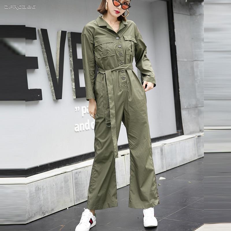 Army Green Rompers Women Jumpsuit Wide Leg Pants 2019 Summer Streetwear High Waist Female Loose BF