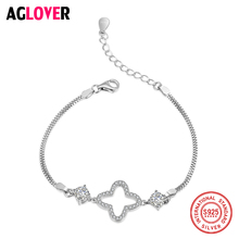 Cute Bracelet Flower 925 Sterling Silver Simple Accessories AAA Crystal Zircon Bracelet for Women Fine Jewelry zoziri 100% 925 sterling silver 3 clover leaf bracelet luxury brand imitation jewelry for women girls zircon flower bracelet