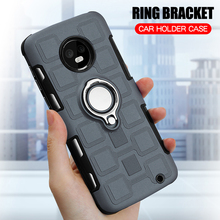 Cover For Motorola Moto G6 Plus Silicone Shockproof Phone Case Luxury Armor Anti-Fall Back Ring Stand