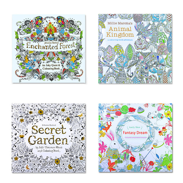 Animal Kingdom Colouring Book Pictures 4pcs English Edition Secret Garden Fantasy Dream