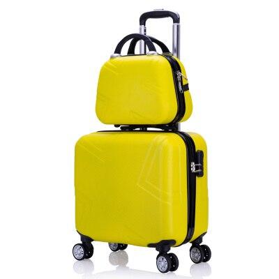 """Набор чемоданов комплект багажных сумок на колесиках Spinner Тележка Дело 1"""" посадочное колесо женщина косметичка carry-on чемодан дорожные сумки - Цвет: set"""
