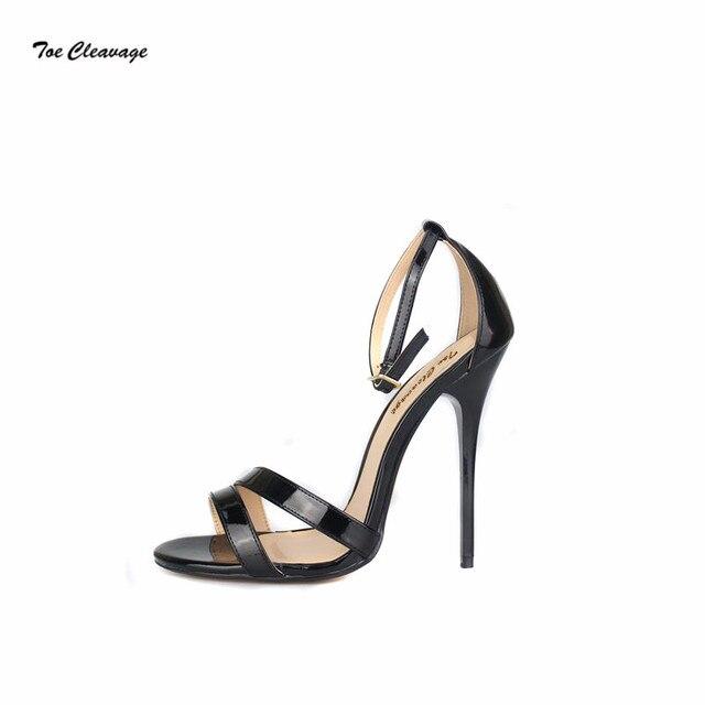 93fc4145c7 Toe Cleavage stilettos Sandals Summer shoes woman sexy 13cm Metal Thin High-Heeled  Crossdresser Buckle Pumps Plus:37-47 48 49 50