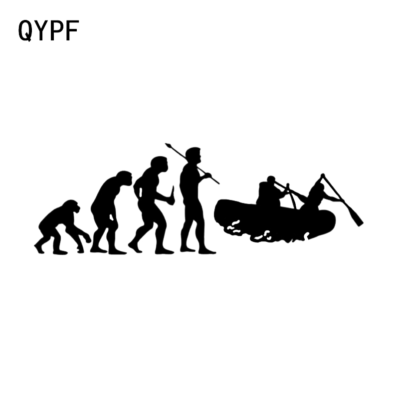 QYPF 13.3*4.5CM Interesting Kayaking Water Rafting Decor Car Styling Sticker Vinyl Accessories Decals Silhouette C16-1256