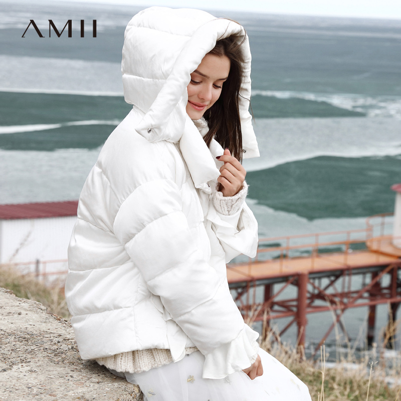 Amii Minimalist Women Winter Duck   Down     Coat   Winter 2018 Causal Solid White Patchwork Thick Hooded Short   Down   Jacket