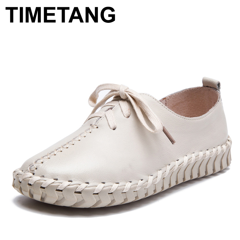 TIMETANG Genuine Leather Loafers Casual Platform Shoes Woman Slip On Flats 2017 Bowtie Moccasin Comfortanble Creepers Women Shoe nayiduyun women genuine leather wedge high heel pumps platform creepers round toe slip on casual shoes boots wedge sneakers