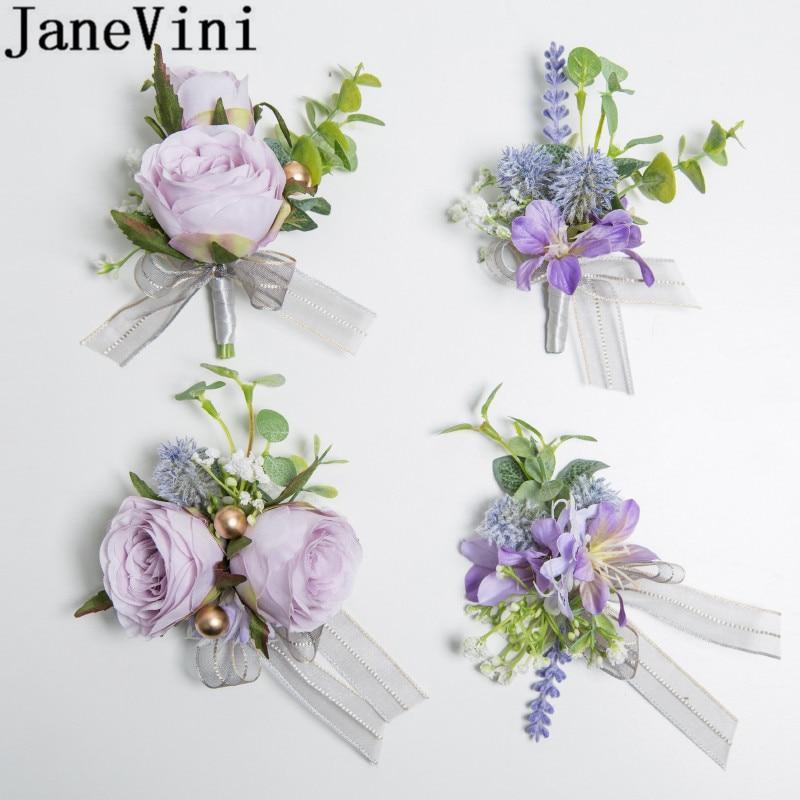 JaneVini Lavender Wedding Suit Groom Flower Corsages Boutonniere Hand Artificial Bride Bridesmaid Wrist Flowers Noivo Casamento