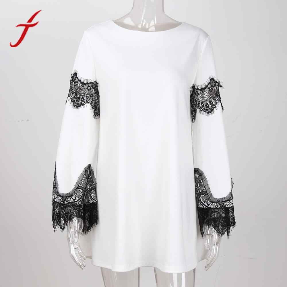 ... FEITONG Lace Patchwork Women Dress Fashion 2018 Elegant Lady splicing  Sexy Dress harajuku Evening Party Mini 15434cbf88b3