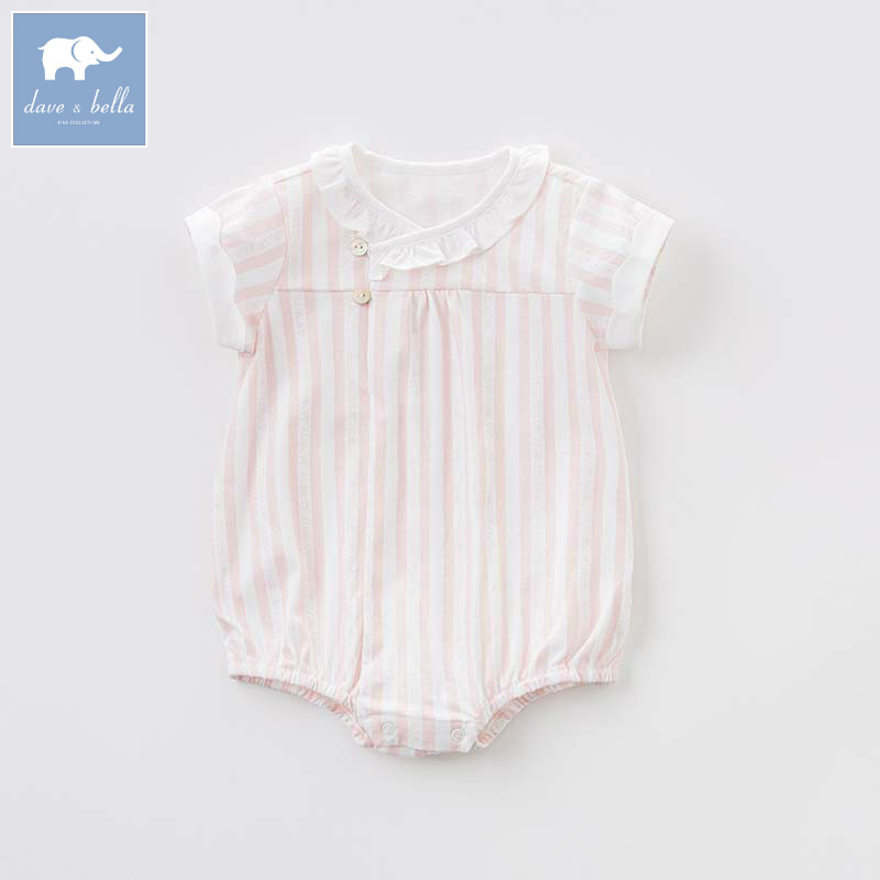 Dave bella newborn 0-9M baby girls cotton infant toddler clothes children summer romper 1 piece DB7558 db7191 dave bella summer baby girls newborn infant toddler jumpsuits children short sleeve printing clothing baby romper