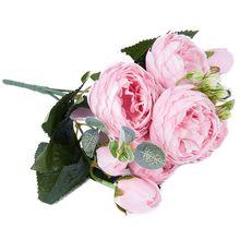 Искусственный шёлковый пион, букет цветов, Искусственный лист, свадебное украшение для дома