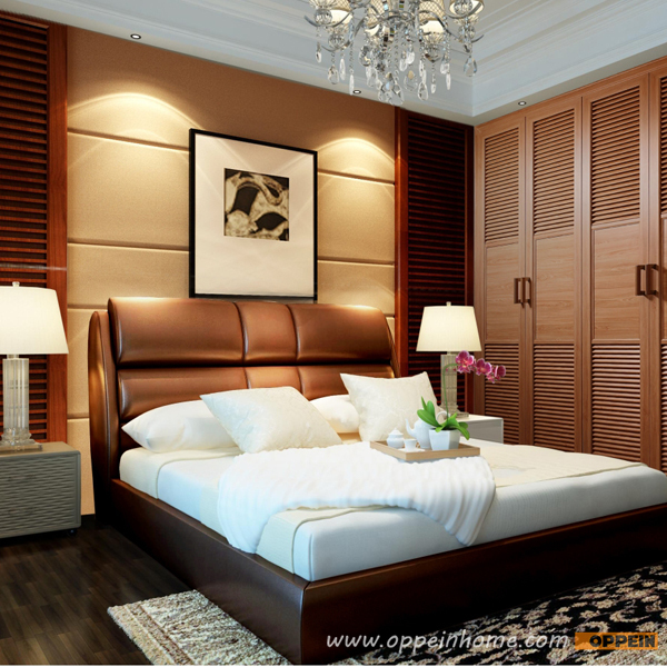 Oppein Hot Sell Cherry Wood Bed Soft Bed Double Bed King Queen