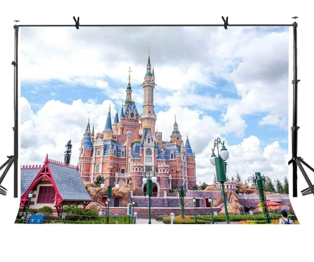150x220cm Fairytale Castle Backdrop Blue Sky White Clouds Fairy Tale Photography Background