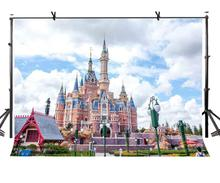 150x220cm Fairytale Castle Backdrop Blue Sky White Clouds Fairy Tale Photography Background