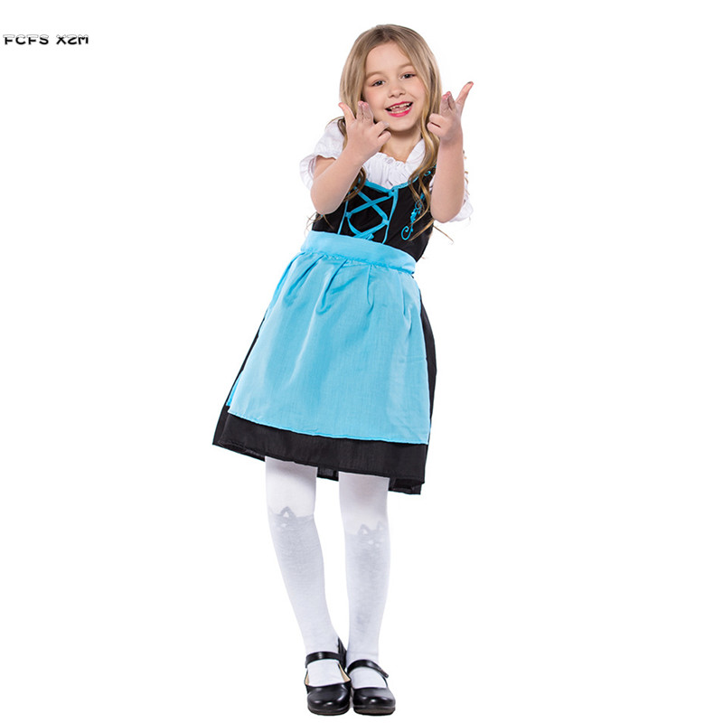 S XL Kids Halloween Alice Costumes For Girls Oktoberfest Maid Cosplays Children's day Carnival Purim Festival parade party dress
