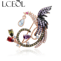 LCEOL Luxury Rose Gold Plated Multi CZ Micro Pave Setting Phoenix Bird Animal Brooches Pins For
