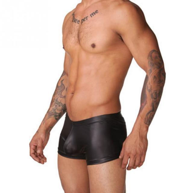 2018 Sexy Men Faux Leather Swimming Briefs Shorts Trunks Pant Nightwear Underwear Shorts