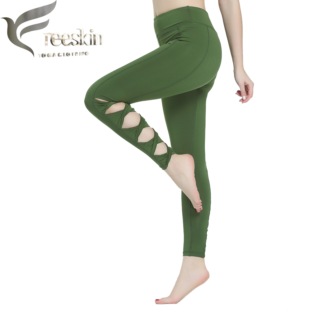 Freeskin Hollow Out Sexy Yoga Pants Lady Sport Tights Green Sport Pants Women Compression Pants Running Fitness Jogging Pants