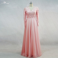 RSE721 Pink Long Sleeve Muslim Evening Dresses With Crystals