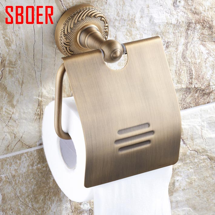 ФОТО New Wall Mounted Bathroom accessories Antique Brass carving Toilet roll Paper Holder With Cover