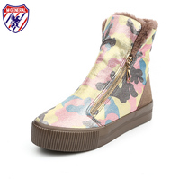 M GENERAL Women Snow Boots Graffiti Side Zipper Female Winter Boots With Fur Inside Girls Martin