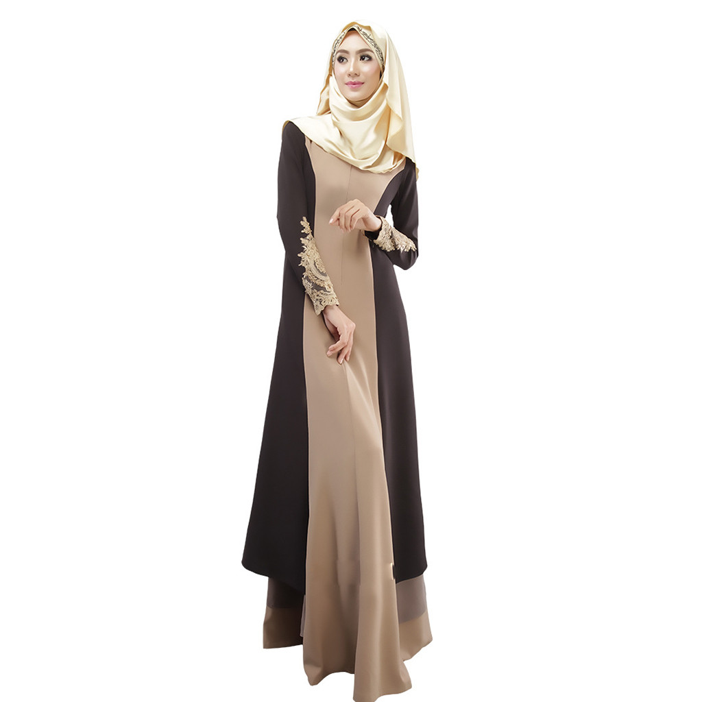 Hot Vintage Women Patchwork O-Neck Long Sleeve Abaya Long Maxi Dress Arab Jilbab Muslim Robe Muslim Women 2019 New Arrivals