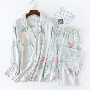Image 2 - Fresh Floral Summer pajamas sets women sleepwear cozy casual rayon long sleeve quality pyjamas women homewear Hot Sale