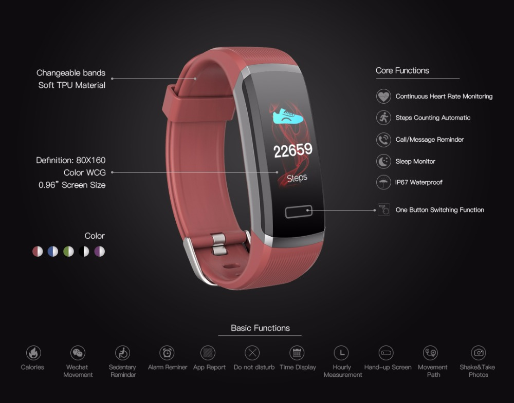 696 GT101 color smart bracelet bluetooth waterproof wristband continuous heart rate monitor fitness tracker watch smart band