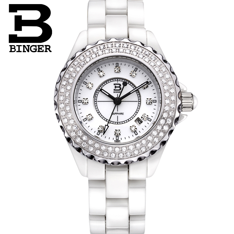 Genuine Switzerland BINGER Brand ceramic Women quartz watch fashion casual lady rhinestone diamond waterproof dress table BBPS|dress full|diamond wedding ring platinum|dresses brand - title=