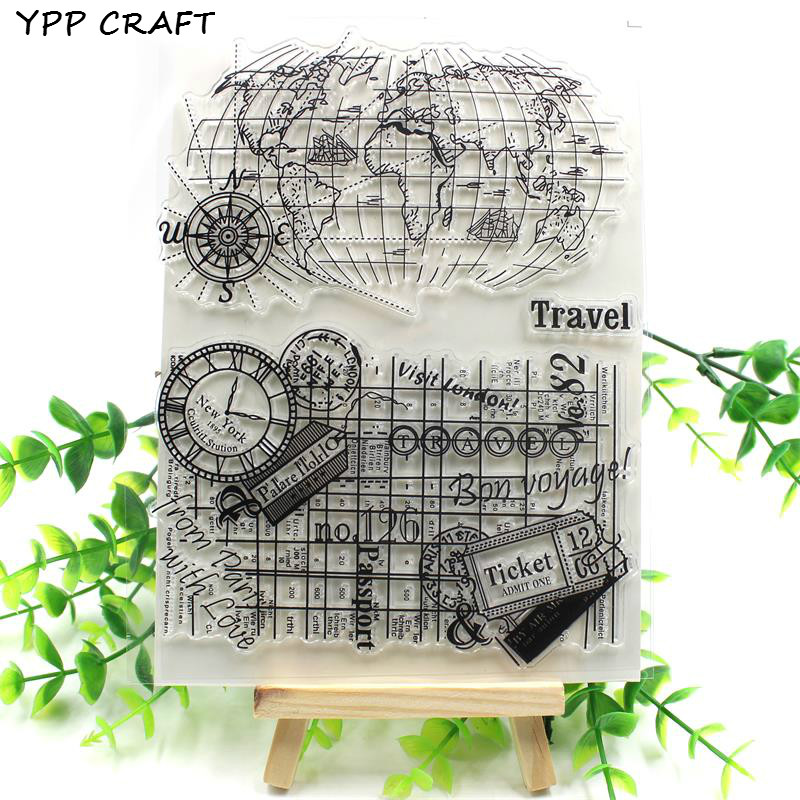 YPP CRAFT Travel Transparent Clear Silicone Stamp/Seal for DIY scrapbooking/photo album Decorative clear stamp about lovely baby design transparent clear silicone stamp seal for diy scrapbooking photo album clear stamp paper craft cl 052