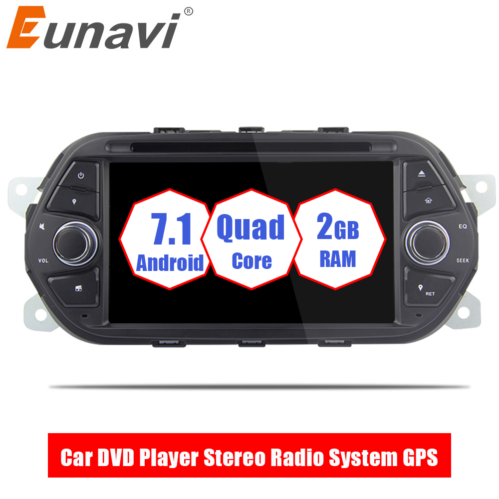 Eunavi 7'' Quad Core 1024*600 1 Din Android 7.1 Car DVD Player For Fiat Tipo Egea 2015 2016 2017 Auto Radio Stereo with gps wifi