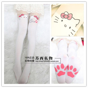 Princess sweet lolita pantyhose HARAJUKU soft amo lolita spank white cat patchwork over-the-knee pretended high stockings