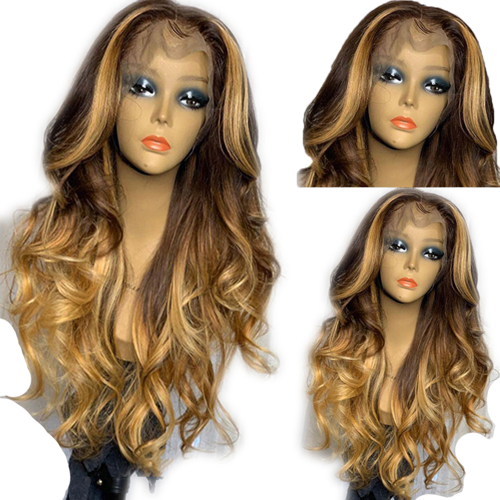 Eversilky13x4 Peruvian Loose Natural Wavy Lace Front Human Hair Wigs Pre Plucked Honey Blonde Remy Glueless