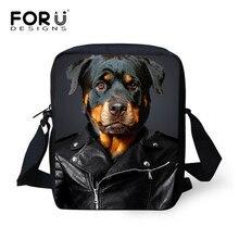 FORUDESIGNS de mensajero de Mujer, bolsas de moda 3d perro impresión bolso de Mujer perro Rottweiler bolso de hombro moda Bolsos Mujer