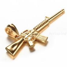 Strong Boy Men's Yellow Gold 316L Stainless Steel Jewelry M4A1 Rifle Gun Pendant Necklace Chain