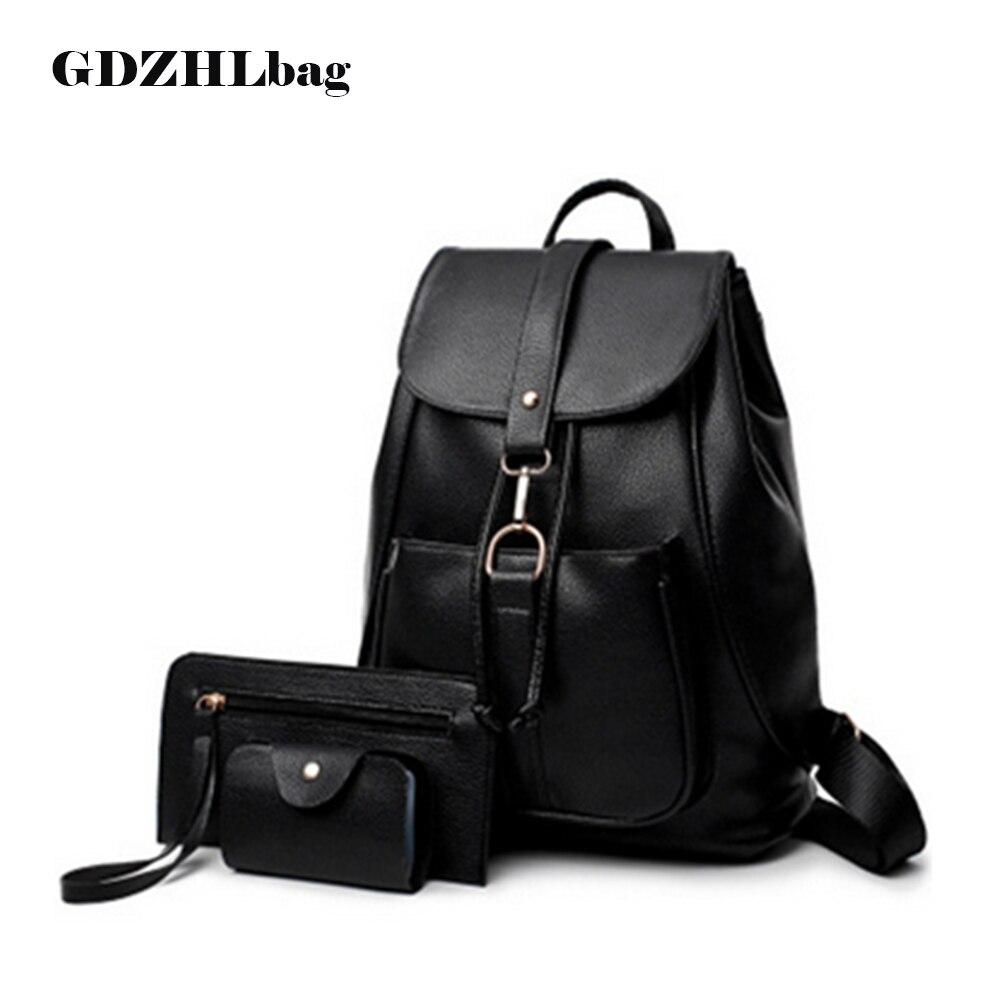 GDZHLbag New 3Pcs Set Women Backpacks female 2017 School Bags For Girls Black PU Leather Women
