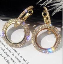pair of graceful rhinestone circle earrings jewelry for women Brand New Rhinestone Circle  Earrings Temperament  Statement Earrings Europe America Exaggerated Earrings Women Ear Jewelry