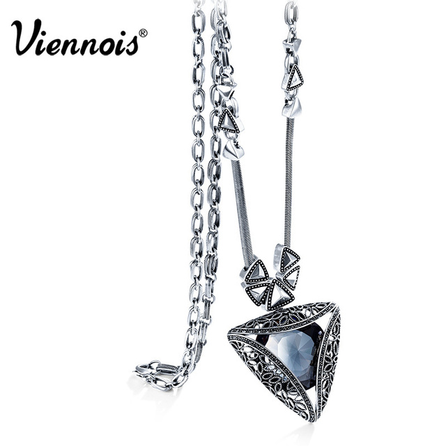 Viennois Vintage Silver Color Geometric Long Pendant Necklace Austrian Rhinestone Crystal Woman Retro Accessories