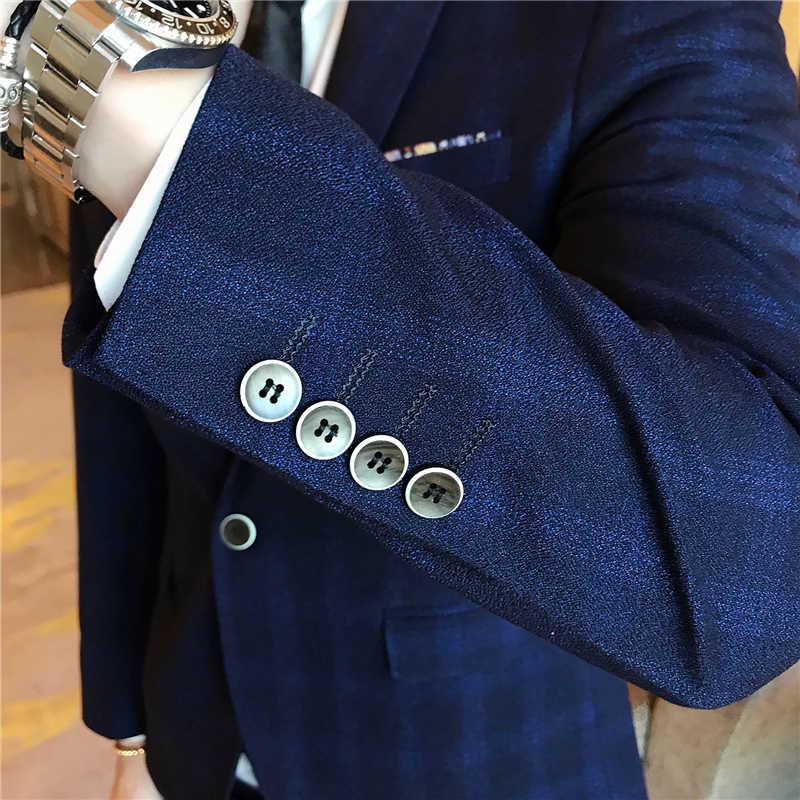 男性の結婚式の男性のスーツのチェック柄スリムフィット 3 ピース (ブレザー + ベスト + パンツ) メンズタキシード男性ファッションカジュアルベスト黒スーツこれまで 3XL