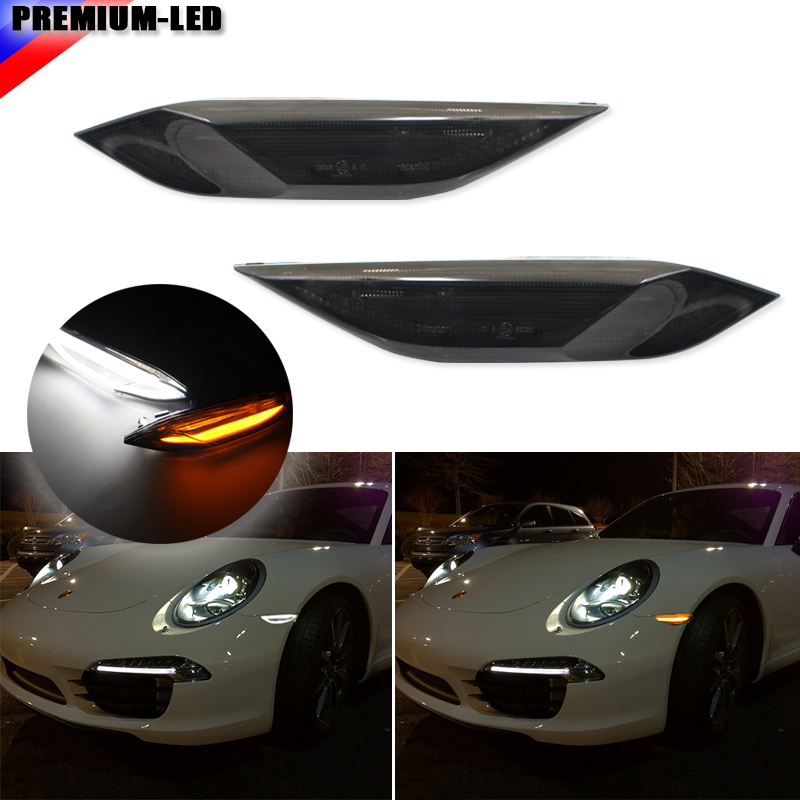 iJDM Smoked Lens Amber/White Switchback LED Side Markers For 2011-2014 Porsche Cayenne (Parking/Driving Light,Turn Signal Light) 1pcs oem fog light driving lamp left side for porsche cayenne 2008 2010