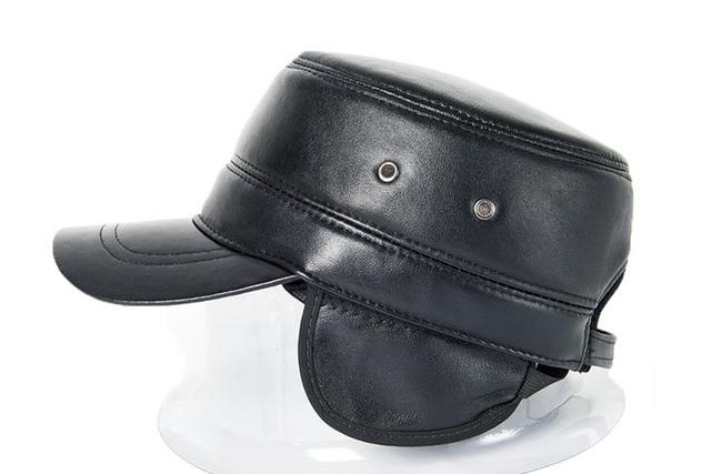 Hot Sale 2017 Genuine Leather Unisex Hats Quinquagenarian Sheepskin Brief  Fashion Military Hat Cadet Winter Cold d0c221466740