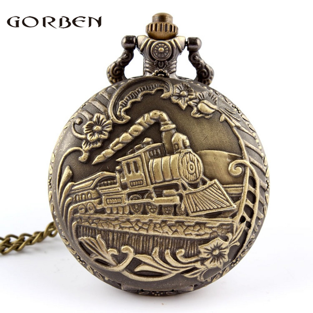 Vintage Bronze Train Front Locomotive Engine Necklace Quartz Pocket Watch Chain P07 With Box Relogio De Bolso