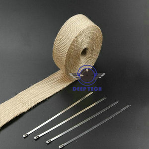 Image 4 - Beige Exhaust Muffler Pipe Header Heat Resistant Exhaust Wrap 10m x 2inch With Cable Ties