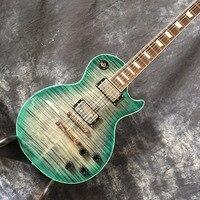 Custom guitar shop LP standaard elektrische gitaar Groene burst Grijs gevlamd maple body top Mahonie hals Roswood toets