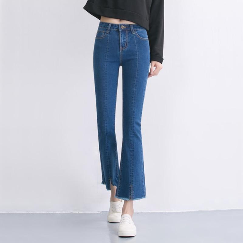U05deu05d5u05e6u05e8 - Flare Jeans Womenu0026#39;s High Waist Boot Cut Jeans Fashion Denim Pants Elastic Trouser Black ...
