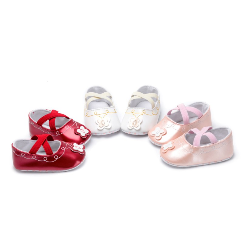 Flower Bow Spring Baby Child Girl Shoes Soft Leather Newborn Baby Girl Princess Shoes 4 Colors 0-18M 2018