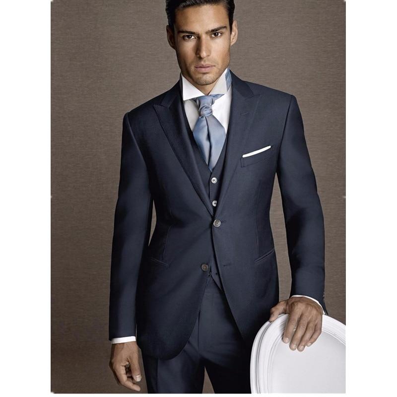 Veste Mariage Cravate Costume De Hommes Costom Bleu Costumes Gilet Marine Ternos Partie Pantalon Fit Slim Mens Made Formelle Smokings Masculino Oq11Ha