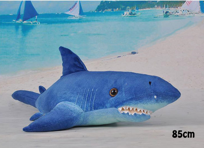 Stuffed animal dolls blue shark giant plush toys 85cm baby kids soft  pelucia toy brinquedos for children