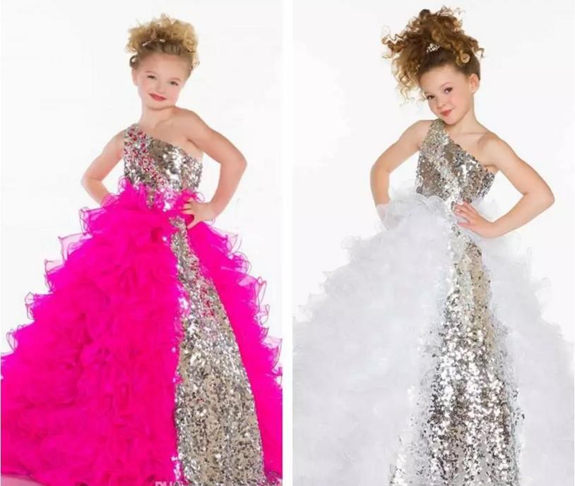 White Ball Gown Little Flower Girl Dresses2015 Collection Girl's Pageant Dresses Cute Princess One Shoulder Bling Sequins Organ цена и фото