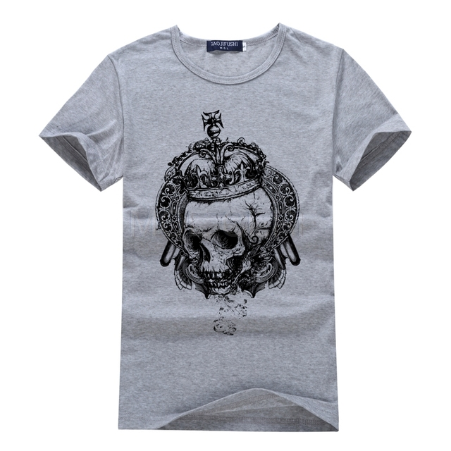 be11670a500b 3D King Of The Crown Skull T Shirt Men Tops Tee Skull Printed Short Sleeve T -shirt Men Hip Hop Camisetas Brand Clothing S30-H#