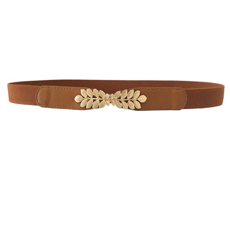 157d6b35 Alta elasticidad cinturones de tela para las mujeres vestidos de hojas de  oro hebilla de metal cinturones de mujer cinturones de moda de las mujeres  ...