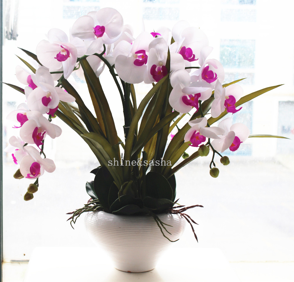 1set silicon real touch artificial orchid flower arrangement 1set silicon real touch artificial orchid flower arrangement purple heart white orchids phalaenopsis princess flower no vase in artificial dried flowers reviewsmspy